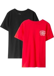 2er-Pack T-Shirt mit kleinem Druck auf der Vorderseite.