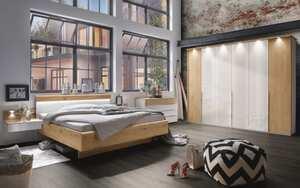 Wiemann - Schlafzimmer Amarillo in weiß-Glas/Absetzung Balkeneiche Furnier