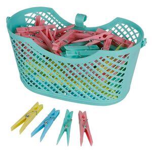 Kunststoff-Wäscheklammern 100 Stück im Korb