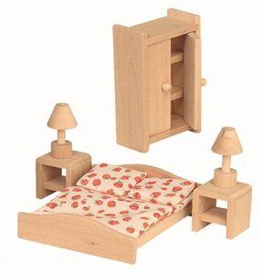 Puppenhaus Möbel - Schlafzimmer - 6teilig - Holz