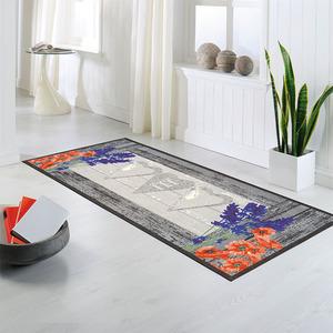 Bella Casa XL-Design-Schmutzfangläufer, ca. 80 x 190 cm, Lavendel / Mohnblume / Herz - Grau
