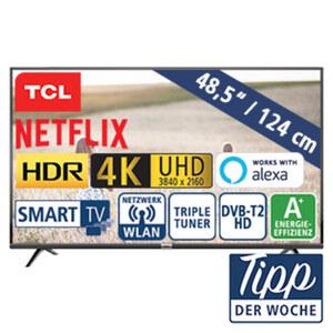 """49""""-Ultra-HD-LED-TV 49DP600 • HbbTV • 3 HDMI-/2 USB-Anschlüsse, CI+ • Stand-by: 0,26 Watt, Betrieb: 68 Watt • Maße: H 65 x B 110,5 x T 7,8 cm • Energie-Effizienz A+ (Spektrum A++ bis E)"""