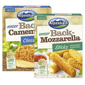 Alpenhain Back-Camembert oder Back-Mozzarella Sticks 45/40 % Fett i. Tr.  jede 200-g-Packung