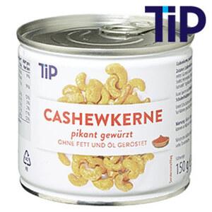 Cashewkerne geröstet und gesalzen oder Pikant gewürzt jede 150-g-Dose