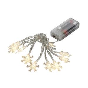 LED Lichterkette Schneeflocke Kunststoff mit10 warmweiß LED