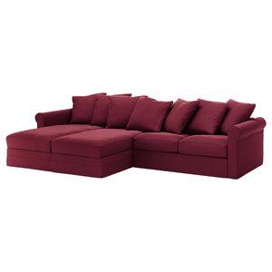 GRÖNLID                                4er-Sofa, mit Récamieren, Ljungen dunkelrot