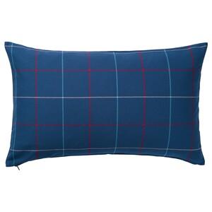 HÄSSLEBRODD                                Kissen, blau, bunt Karo, 40x65 cm