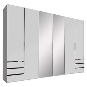Drehtürenschrank Level 36A B:300cm Weiß Dekor/ Spiegel