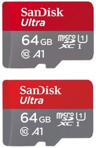 Sandisk 2x microSDXC Ultra (64GB) Speicherkarte + Adapter