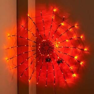 Halloween 100er LED-Spinnennetz orange mit Spinnnen