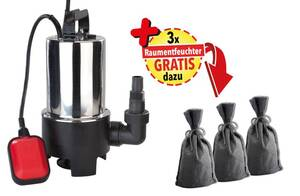 Schmutzwasser Tauchpumpe 550 Watt plus Gratis 3 x Raumentfeuchter-Sack