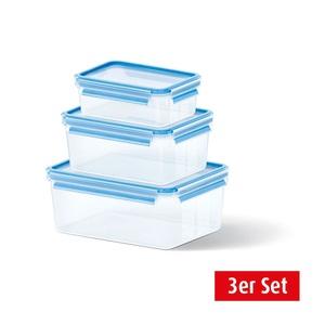 EMSA Frischhaltedosen im 3er Set CLIP & CLOSE 1,0+2,3+3,7 Liter Blau
