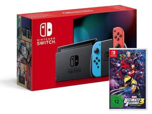 Nintendo Switch Konsole Neon-Rot/Neon-Blau + Nintendo Marvel Ultimate Alliance 3: The Black Order