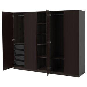PAX                                Kleiderschrank, schwarzbraun, Forsand Eschenachbildung schwarzbraun las, 250x60x201 cm