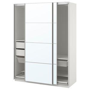 PAX                                Kleiderschrank, weiß, Auli Spiegelglas, 150x66x201 cm