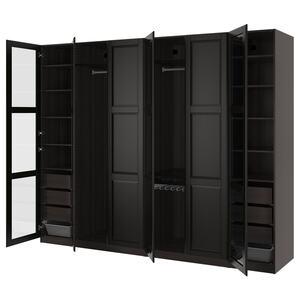 PAX                                Kleiderschrank, schwarzbraun Undredal, Undredal Glas, 300x60x236 cm