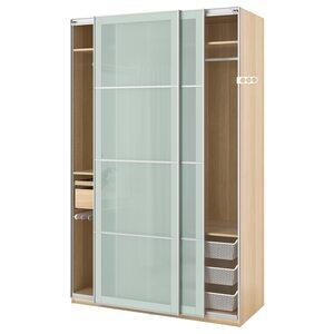 PAX                                Kleiderschrank, Eicheneff wlas, Sekken Frostglas, 150x66x236 cm
