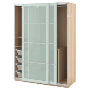PAX                                Kleiderschrank, Eicheneff wlas, Sekken Frostglas, 150x66x201 cm