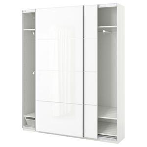 PAX                                Kleiderschrank, weiß, Färvik weißes Glas, 200x44x236 cm