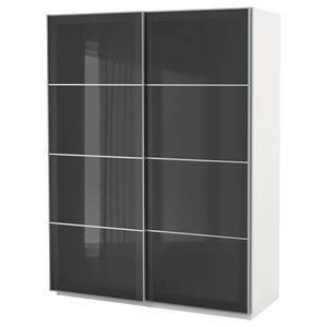 PAX                                Kleiderschrank, weiß, Uggdal graues Glas, 150x66x201 cm