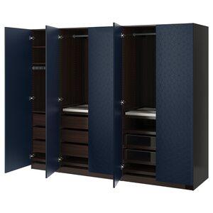 PAX                                Kleiderschrank, schwarzbraun, Hamnås schwarzblau, 250x60x201 cm