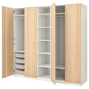 PAX                                Kleiderschrank, weiß, Repvåg Eichenfurnier weiß lasiert, 250x60x236 cm