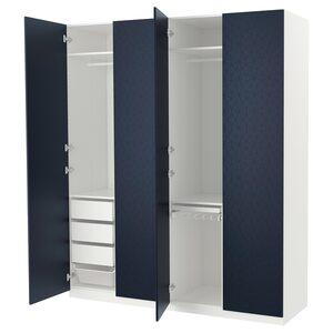 PAX                                Kleiderschrank, weiß, Hamnås schwarzblau, 200x60x236 cm