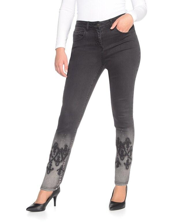 Viventy - Jeans, Slim Fit mit Stickerei und Ziersteinen