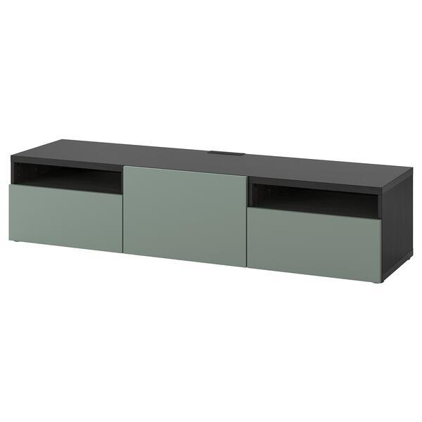 BESTÅ                                TV-Bank, schwarzbraun, Notviken graugrün, 180x42x39 cm