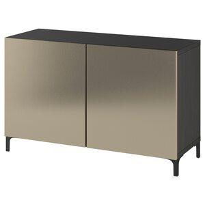 BESTÅ                                Aufbewahrung mit Türen, schwarzbraun, Riksviken/Nannarp hell bronzefarben, 120x42x74 cm