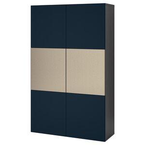BESTÅ                                Aufbewahrung mit Türen, schwarzbraun Riksviken, Notviken blau, 120x42x192 cm