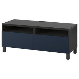 BESTÅ                                TV-Bank mit Schubladen, schwarzbraun, Notviken/Stubbarp blau, 120x42x48 cm