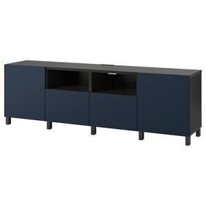 BESTÅ                                TV-Bank mit Türen und Schubladen, schwarzbraun, Notviken/Stubbarp blau, 240x42x74 cm