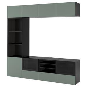 BESTÅ                                TV-Komb. mit Vitrinentüren, schwarzbraun, Notviken Klarglas graugrün, 240x42x230 cm