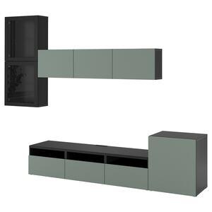 BESTÅ                                TV-Komb. mit Vitrinentüren, schwarzbraun, Notviken Klarglas graugrün, 300x42x211 cm