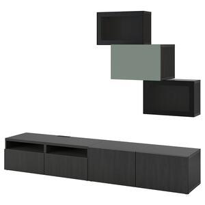 BESTÅ                                TV-Komb. mit Vitrinentüren, schwarzbraun Lappviken, Notviken graugrün, 240x42x190 cm