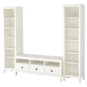 HEMNES                                TV-Möbel, Kombination, weiß gebeizt, 245x197 cm