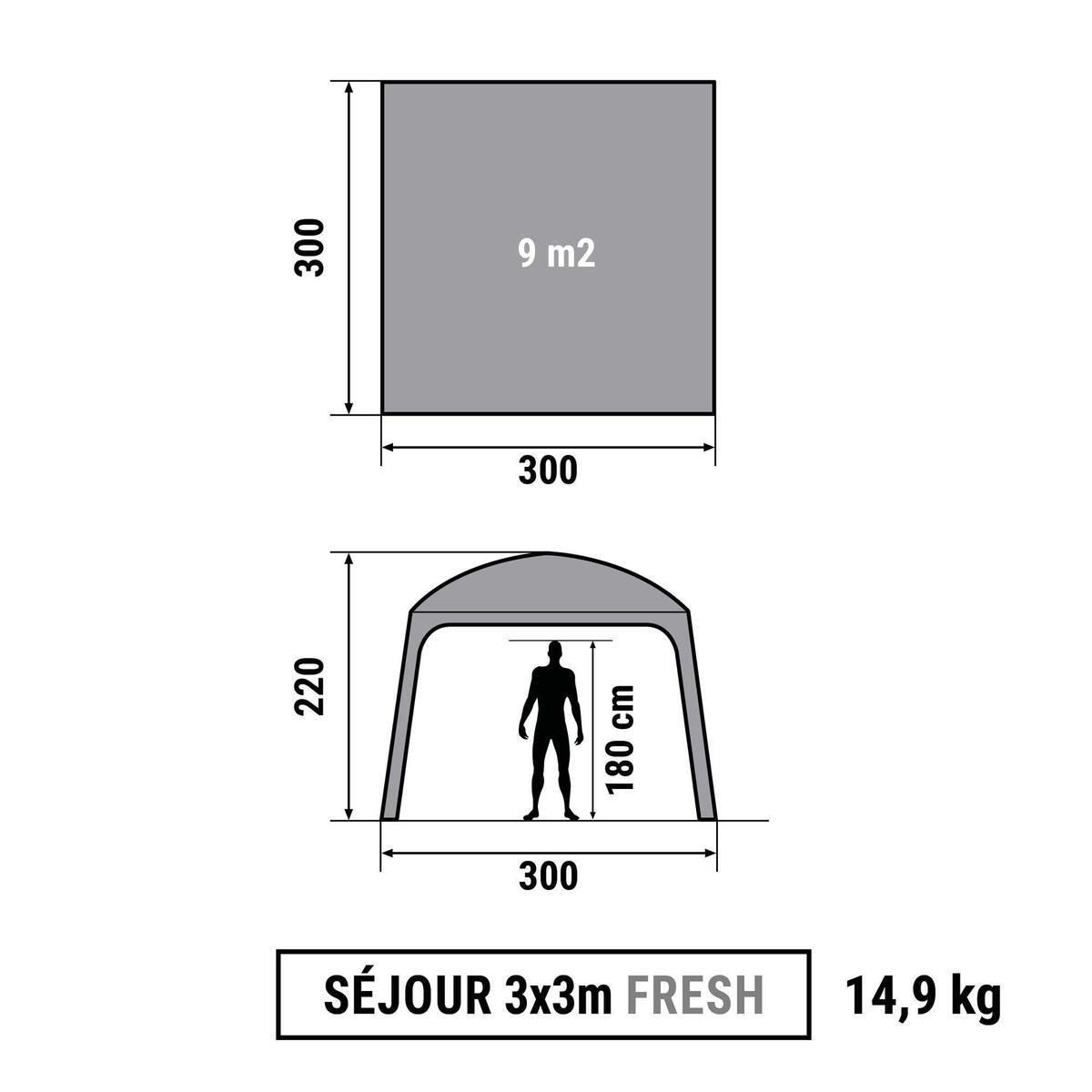 Bild 2 von Pavillon Arpenaz 3 נ3 m mit Türen 10 Personen Camping LSF 50+ Fresh&Black weiß