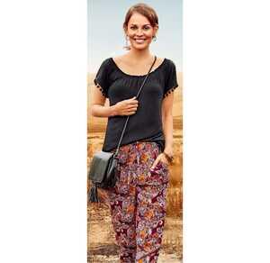 Damen-Stoffhose mit verstellbarem Taillenband