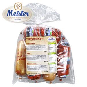 Meister Vesperpaket 6-fach sortiert, bestehend aus: Bockwurst, Schinkenwurst, Lyoner, Paprikalyoner, Leberwurst fein und grob, jede 1,3-kg-SB-Packung