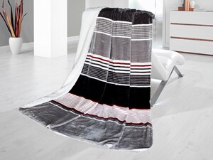 Bella Casa Flanell-Sherpa-Wohndecke, ca. 130 x 170 cm - Streifen Rot/Grau/Weiß