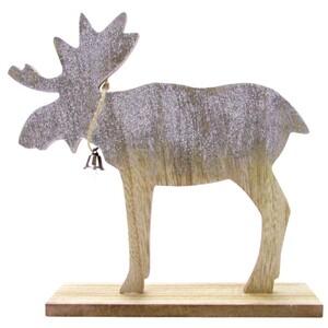 Standdeko Elch aus Holz mit Glitter in verschiedenen Größen