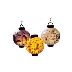 IDEENWELT LED-Halloween-Lampion Spinnenweben