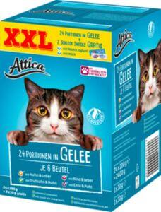 Attica Katzennahrung 24 Port. à 100g in Gelee + 2 Schlecksnacks à 10g Gratis, 2420g