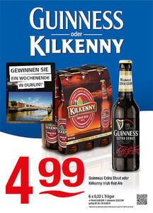 Guinness oder Kilkenny Guinness Extra Stout oder Kilkenny Irish Red Ale
