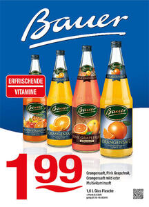 Bauer Orangensaft, Pink Grapefruit, Orangensaft mild oder Multivitaminsaft