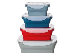 ERNESTO® Faltbare Frischhaltedosen, 4-teilig