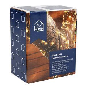 LED-Drahtlichterkette mit Timer 21,9m 200 Micro-LEDs Warmweiß