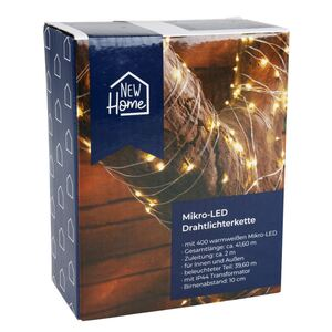 LED-Drahtlichterkette mit Timer 41,6m 400 Micro-LEDs Warmweiß