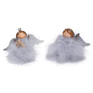 Dekoengel - grau - mit Federn